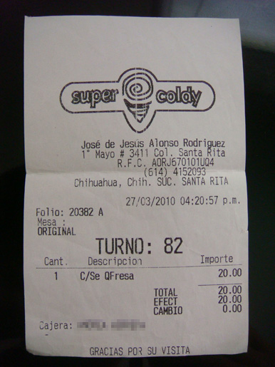Ticket de Nieves Super Coldy