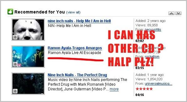 Recomendaciones de YouTube en 2008