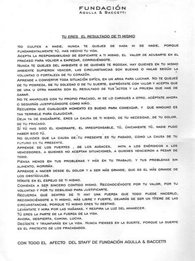 Carta de la Fundación Agulla&Baccetti