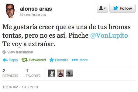 Tweet de Alonso Arias sobre Raji