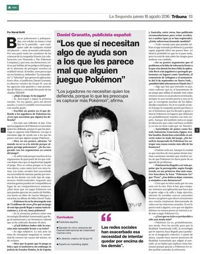 Entrevista Daniel en La Segunda (Chile)