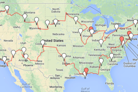 best road trip popular cities 1024x551 usaroadtripdraft1 road trip route 32012google maps