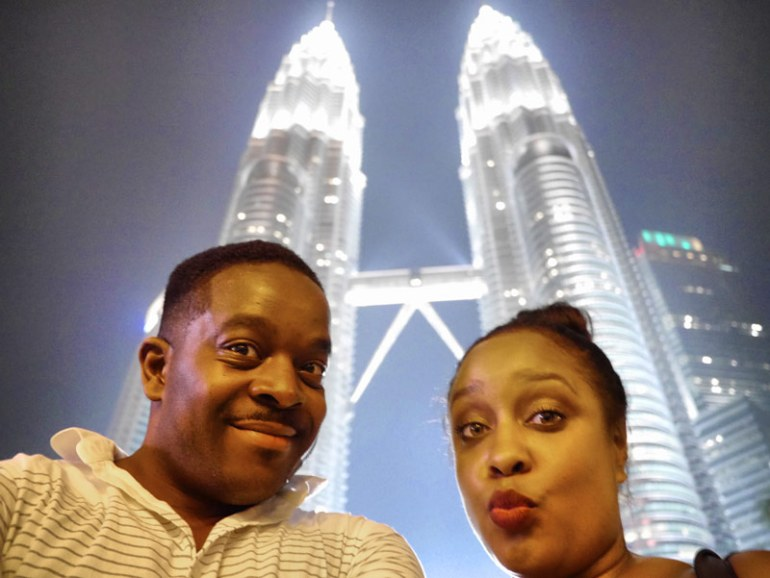 Nat and Mase Night Time Selfie at the Petronas Towers - Kuala Lumpur, Malaysia
