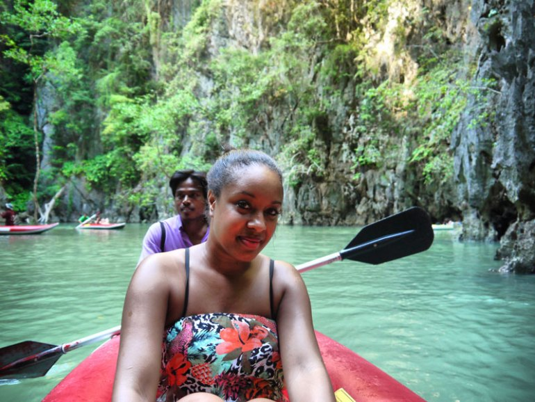 Nat on the Lagoon After Canoeing Through a Cave - Phang Nga Bay, Thailand