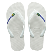 White Havaianas Flip Flops with Brasil Flag Logo