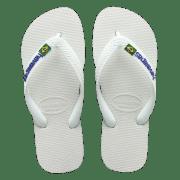 White Havaianas Flip Flops with Brasil Flag Logo