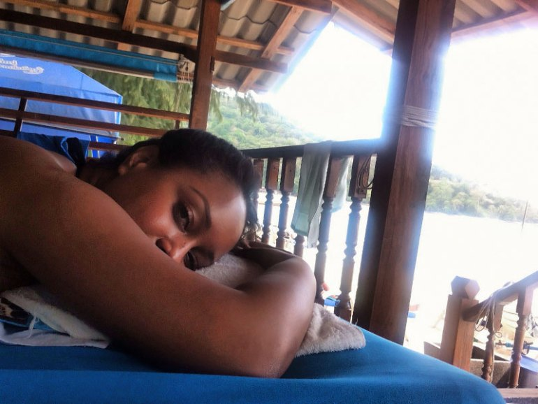 Nat Getting a Full Body Massage on Tri Trang Beach - Phuket, Thailand