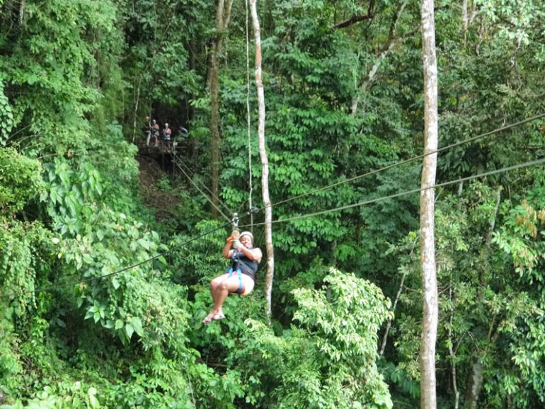 Me (Nat) Zip-Lining Across a Costa Rican Rainforest