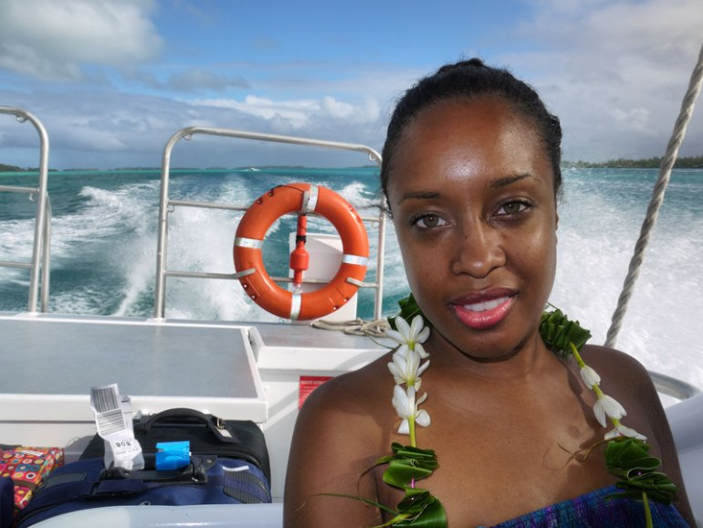 Nat in our Water Taxi on the Way from Bora Bora Airport to the Resort