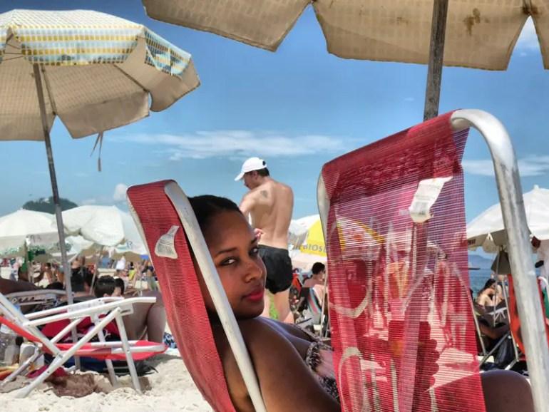 Nat Sitting On a Fold-Away Beach Chair on Copacabana Beach