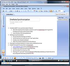 OneNote 2007 Syncronization