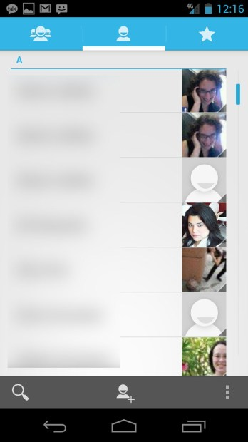 Contacts List - Ice Cream Sandwich Android 4.0