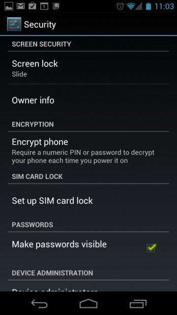 Set owner info on Galaxy Nexus