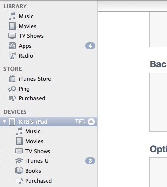 iTunes iPad in the sidebar