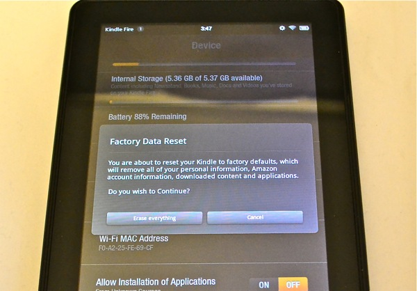Kindle Fire Erase