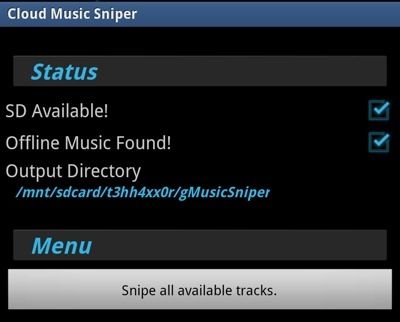 Cloud Music Sniper Main Screen