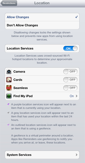 Location Controls - iPad Restrictions Parental Controls