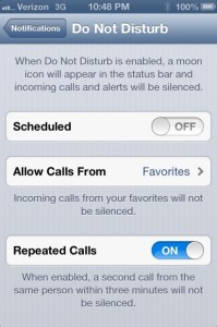 Do Not Disturb iOS 6 feature