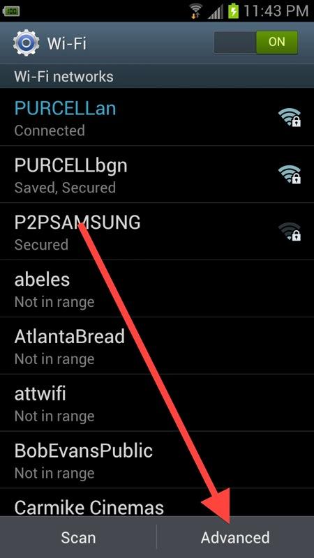 Advanced wifi settings