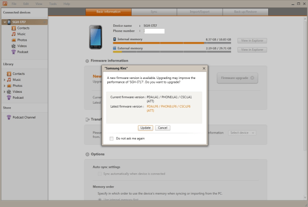 Update Samsung Galaxy Note to ICS via Kies