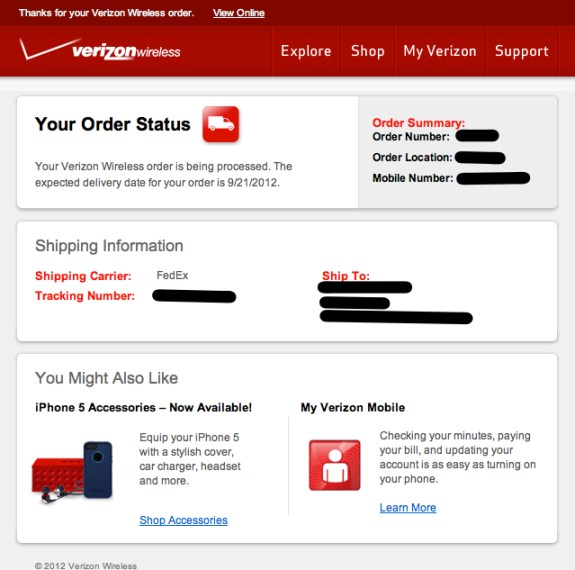Verizon iPhone 5 shipping confirmation