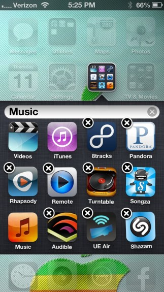 Folders on iOS 6 iPhone 5