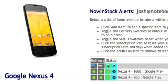 Nexus 4 in stock