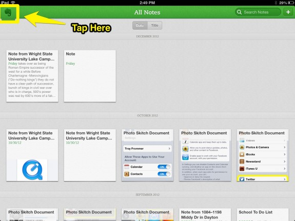 Tap Evernote
