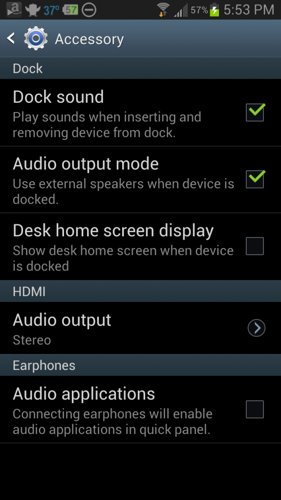 audio output over dock setting