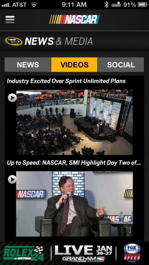 NASCAR Mobile 13 app media