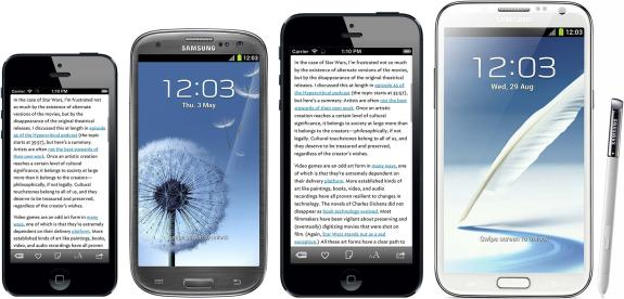 iPhone 5 vs iPhone Plus vs Galaxy S3 vs Note 2