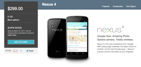 The Nexus 4 8GB is now listed as shipping out by March 22nd, an exact date.