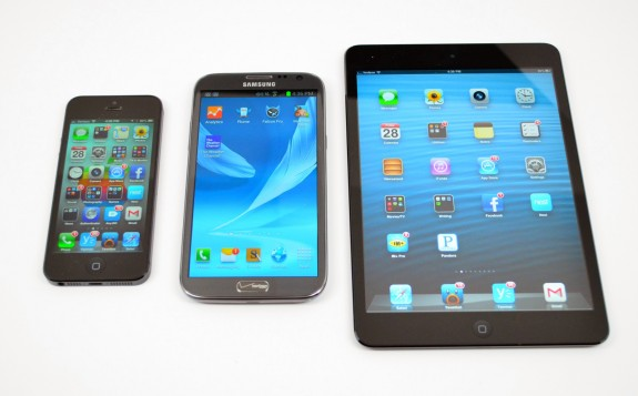 iPhone 5 vs. Galaxy Note 2 vs. iPad mini.