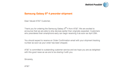 The AT&T Galaxy S4 will start shipping soon.