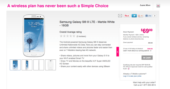 The Galaxy S3 LTE is apparently on sale at T-Mobile.