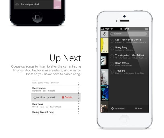 This iOS 7 concept focuses on the music app and offers the Up Next feature from iTunes.