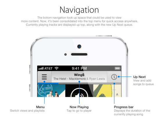 This iOS 7 Music app concept offers faster access to common options.