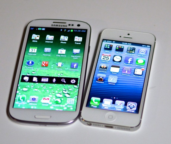 The Samsung Galaxy S3 tops the iPhone 5 in consumer satisfaction, possibly due to the larger screen.