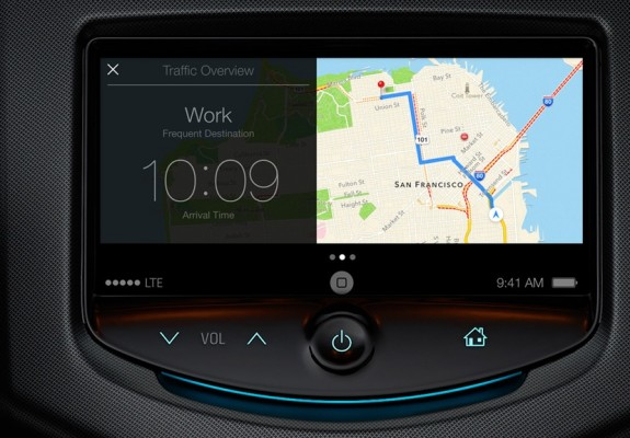 Apple's iCar push begins with iOS in the Car, a feature that will apparently use AirPlay to put iPhone info on the in-dash screen of many car models.