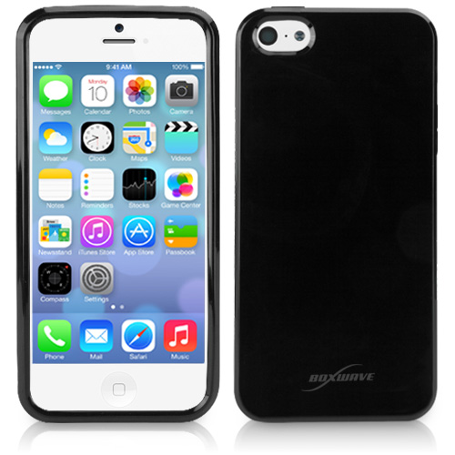 A black iPhone 5C case offers an option to dress up the colorful iPhone 5C.
