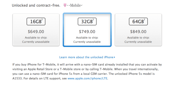 The iPhone 5S off-contract pricing is as expected.