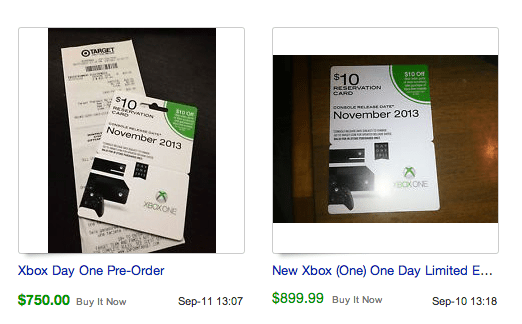 Xbox One eBay prices are already high and pre-orders aren't sold out.