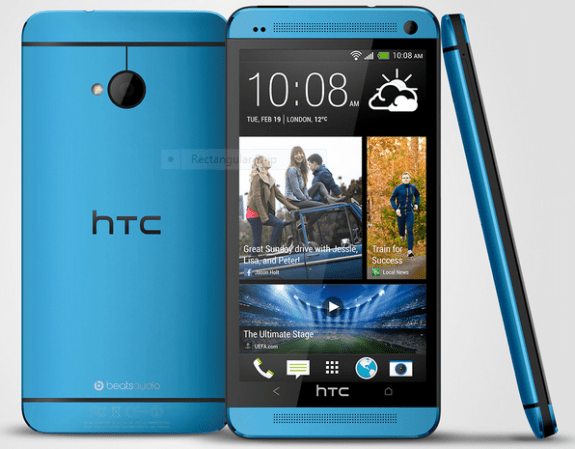 The HTC One in Vivid Blue