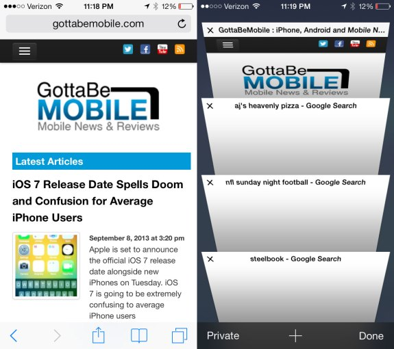 Safari is new in iOS 7 with a new look and better tab support.