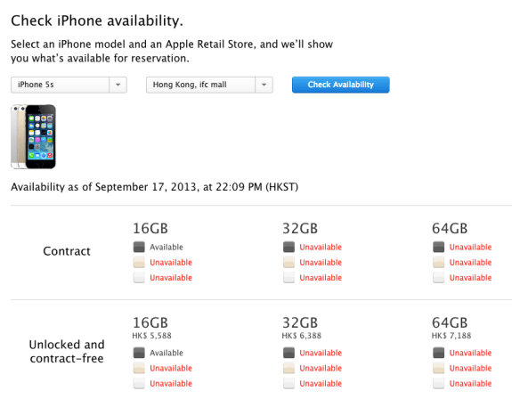 Apple's iPhone 5s in store pickup reservations sold out nearly instantly in China.