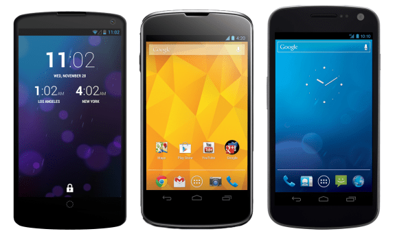 The rumored Nexus 5 seen here next to the Nexus 4 and Galaxy Nexus.