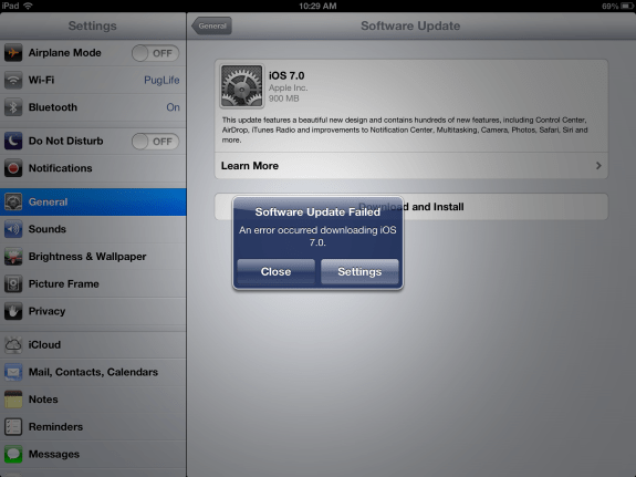 "The same iOS ""Software Update Failed"" error on the iPad."