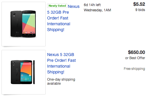 Nexus 5 pre-orders are up on eBay, for a high premium and without any promises.