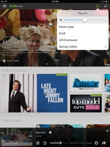 hulu plus on iPad now works with chromecast