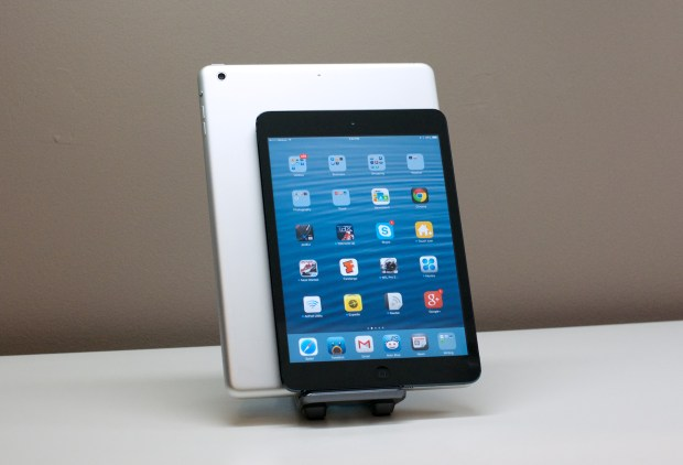 The iPad mini is smaller than the iPad Air or iPad 2, but not too small to use.